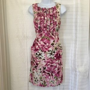 {Dress Barn} Floral Straight Dress with Ruffles